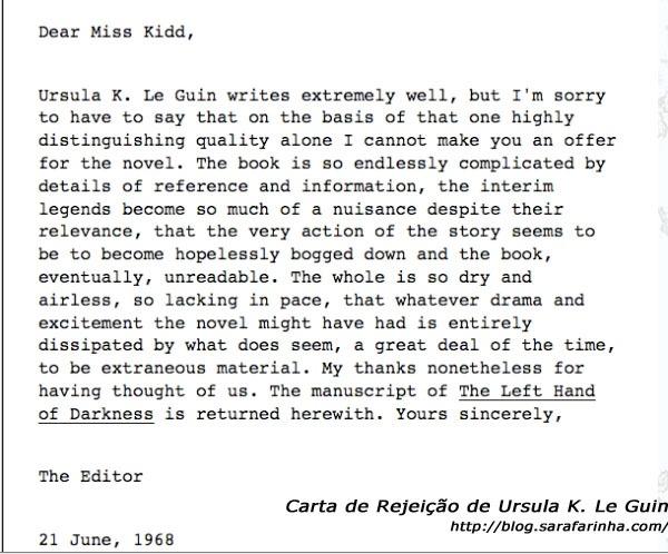 Rejeição The Left Hand of Darkness_Ursula K. Le Guin